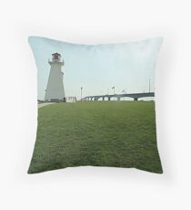 Lighthouse at Confederation Bridge Throw Pillow