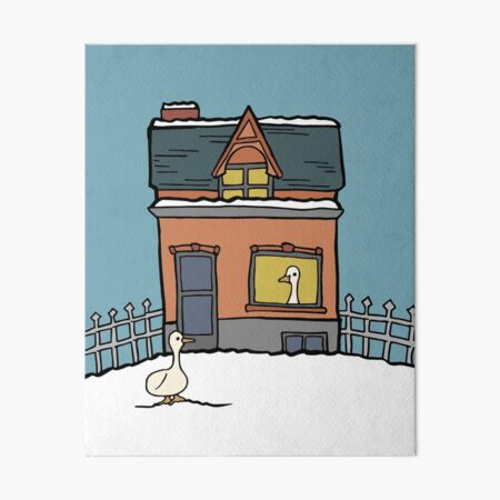 Duck House in the Snow Art Board Print