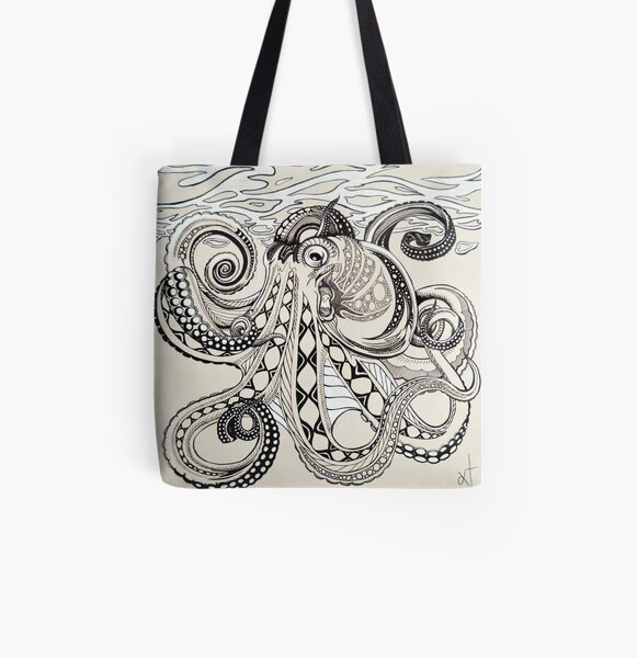 Hank the Octopus All Over Print Tote Bag