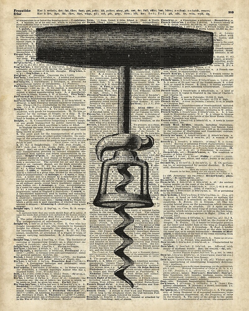 Vintage Corkscrew  Over Old Encyclopedia Page by DictionaryArt