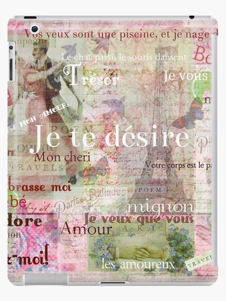 Romantic French Language Love Phrases And Words And Vintage Paris Themed Art Ipad Caseskin By Goldenslipper