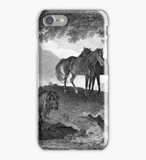 Ponies Black and White Drawing iPhone Case/Skin