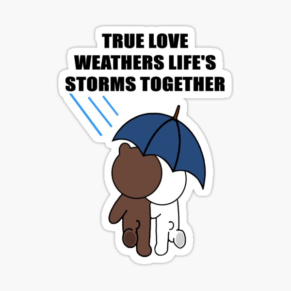 Cute Brown bear and Cony life's storms Sticker