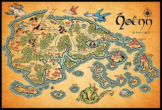 hoenn map posters by meleeninja redbubble