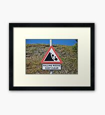 Falling rocks sign, Folkestone Framed Print