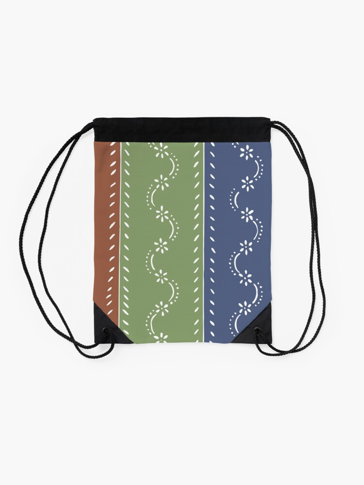 Alternate view of 3-colored floral pattern Drawstring Bag