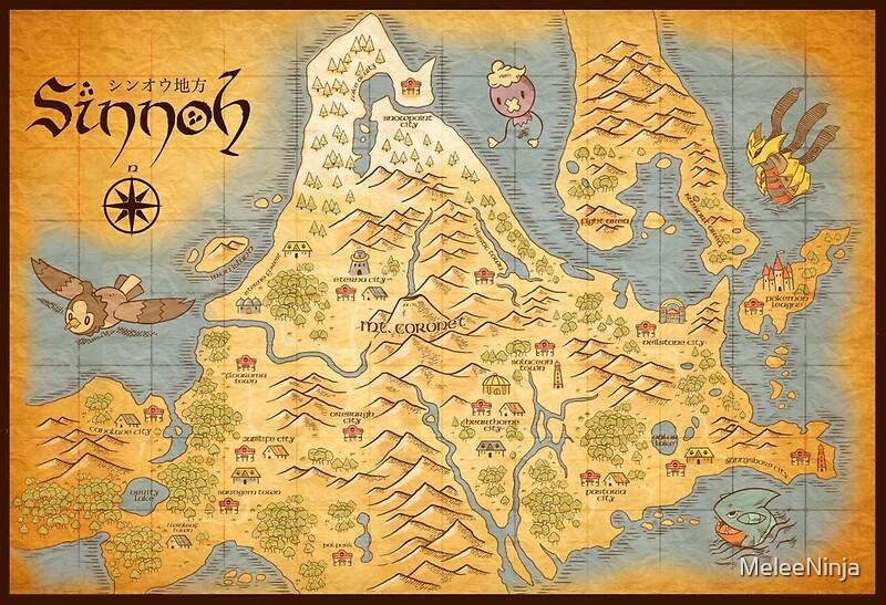 Quot Sinnoh Map Quot Posters By Meleeninja Redbubble