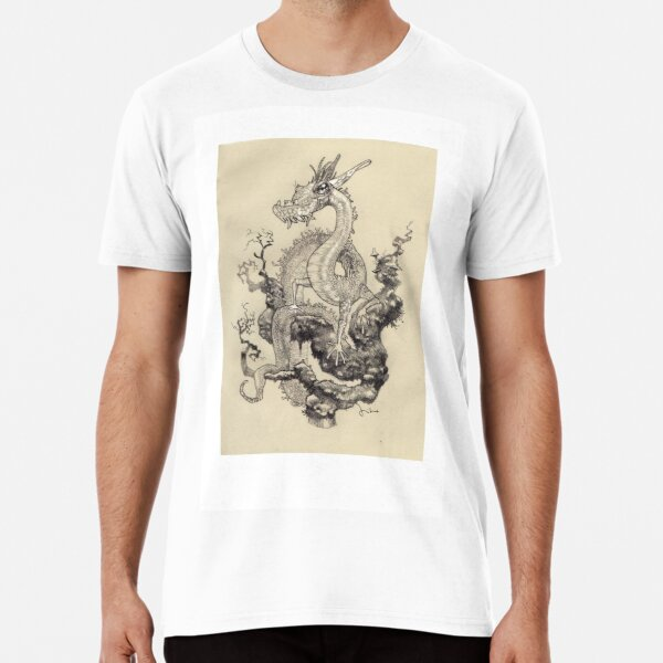 Pencil drawing of a dragon posing. Premium T-Shirt
