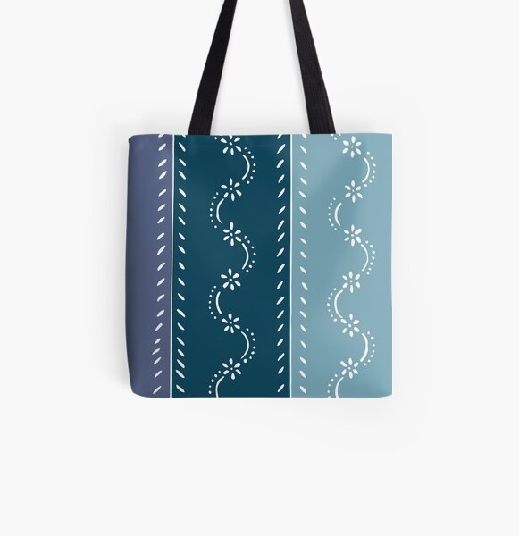 Scattered flower pattern in tone on tone blue pastel colors All Over Print Tote Bag