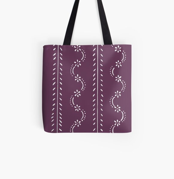 Nostalgic scattered flower pattern in violet pastel colors All Over Print Tote Bag