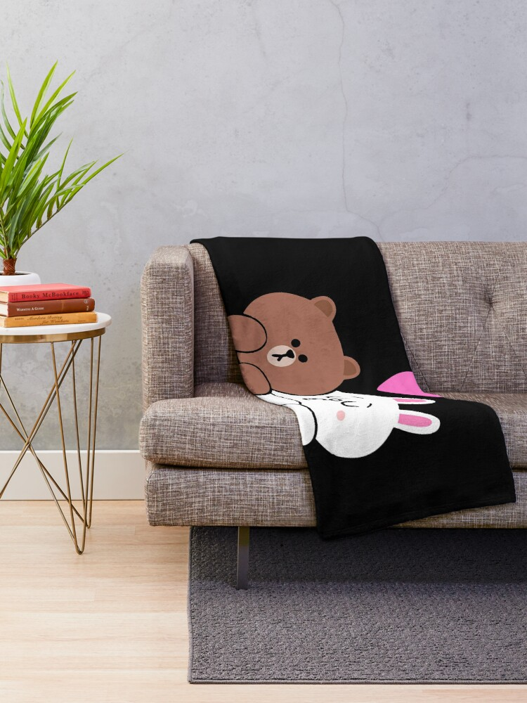 Alternate view of Brown bear and Cony in love Throw Blanket
