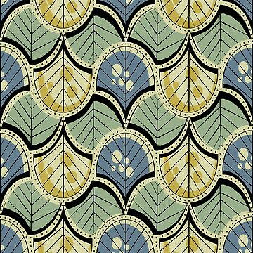 Retro Art Deco Feathers and Leaves by OpenArt