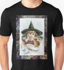 Vintage Halloween Girl Witch Hat Cat Unisex T-Shirt