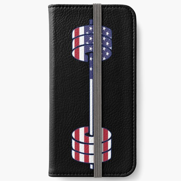 USA flag Barbell Powerlifting Weight Lifting form iPhone Wallet