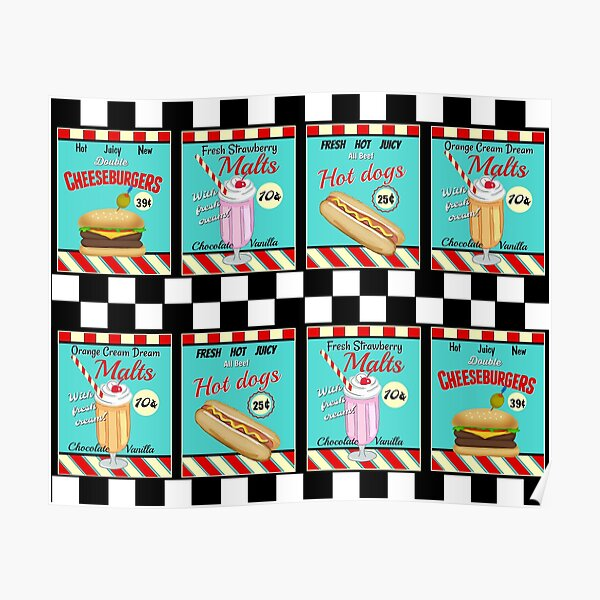 Retro Diner Signs / Food Poster