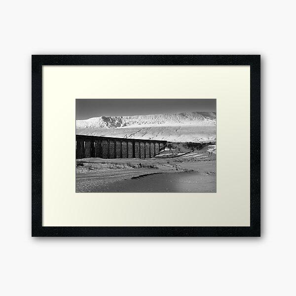 Ribblehead in White - Whernside & Viaduct in the snow Framed Art Print