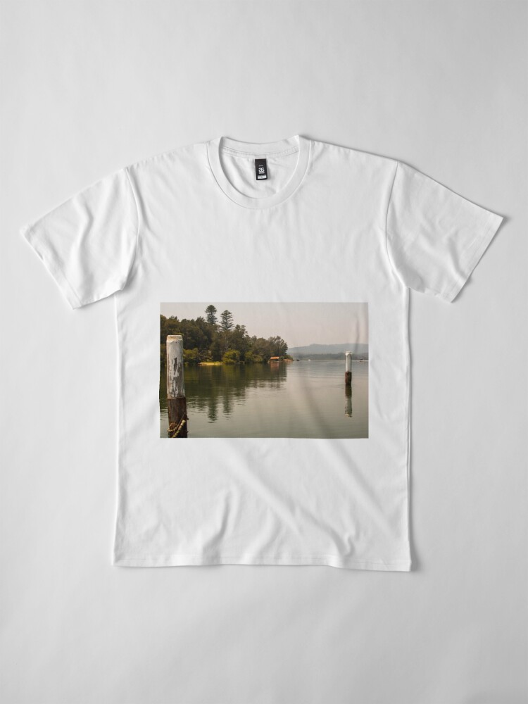 Alternate view of Calm Water at Eulalia Wharf in Davistown Australia Premium T-Shirt