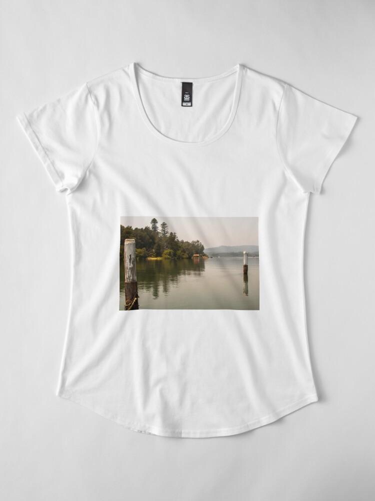 Alternate view of Calm Water at Eulalia Wharf in Davistown Australia Premium Scoop T-Shirt