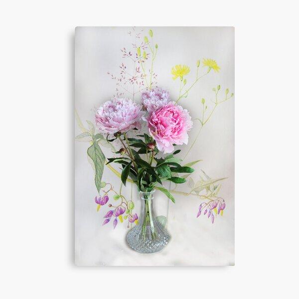 Peonies in a vase  Canvas Print