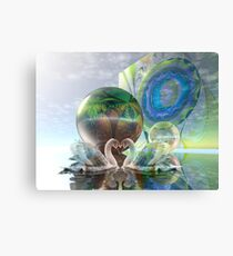 Romantic swans in a sci-fi world Canvas Print