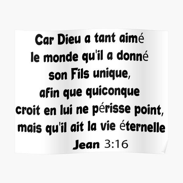 Jean 3:16 Verset Biblique Poster