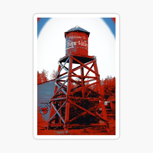 Hope Valley Water Tower Blue & Red Sticker