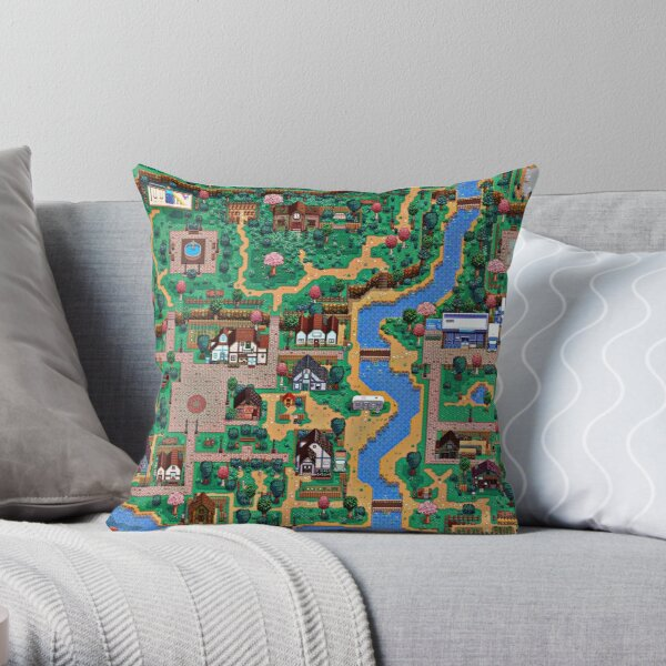 Stardew valley town map Throw Pillow