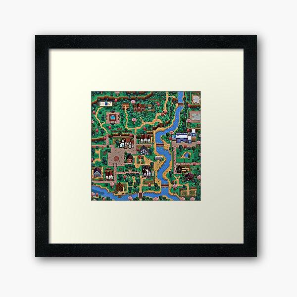 Stardew valley town map Framed Art Print