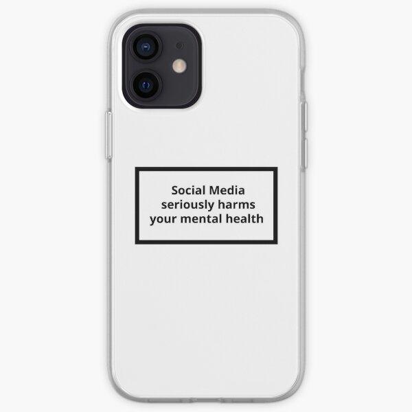 Étiquette d'avertissement - Les médias sociaux nuisent gravement à votre santé mentale Coque souple iPhone