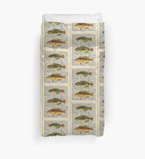 Colorful Fishes Over Old Encyclopedia Page Duvet Cover