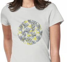 Leaf and Berry Sketch Pattern in Mustard and Ash Womens Fitted T-Shirt