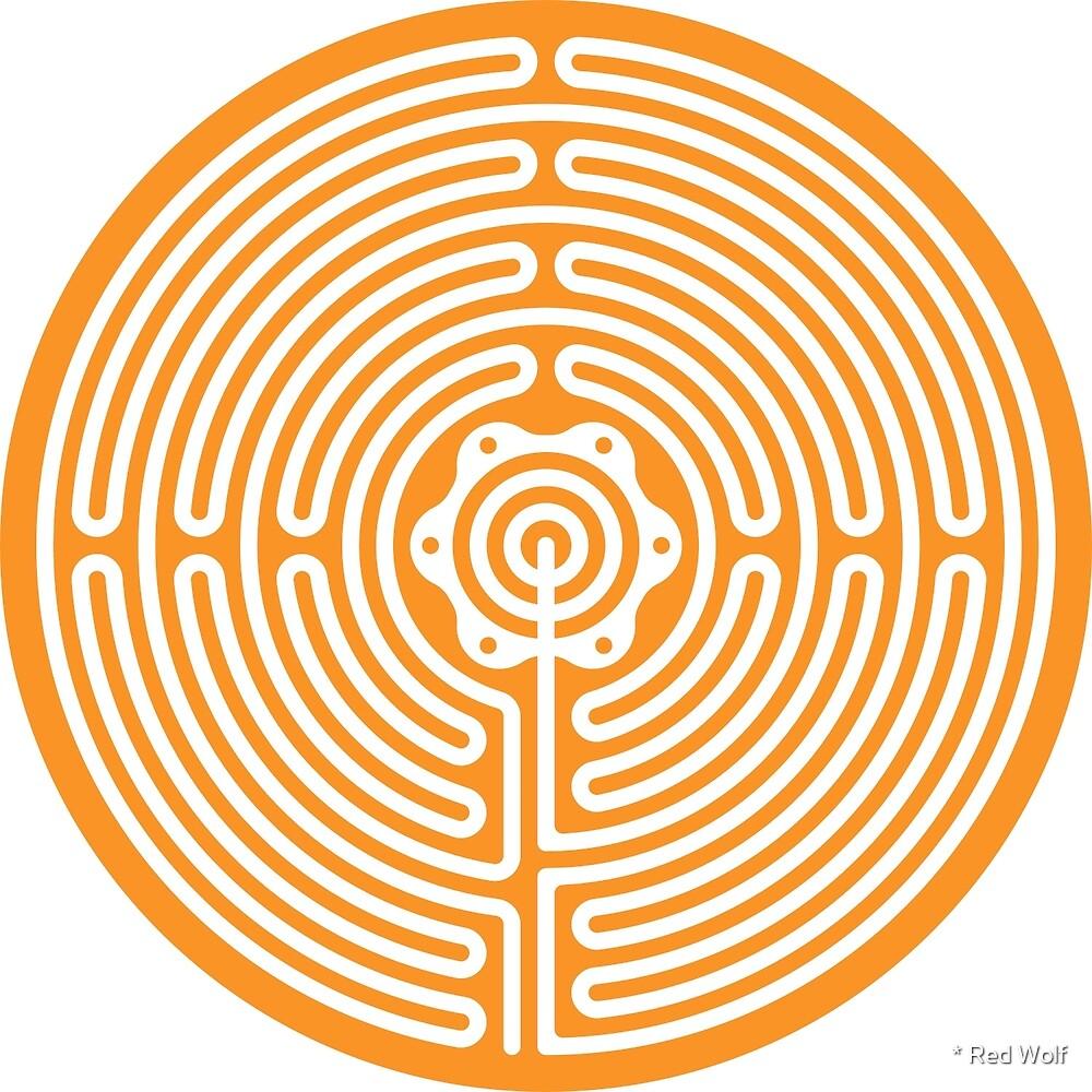 Geometric Pattern: Labyrinth: Orange Light by * Red Wolf