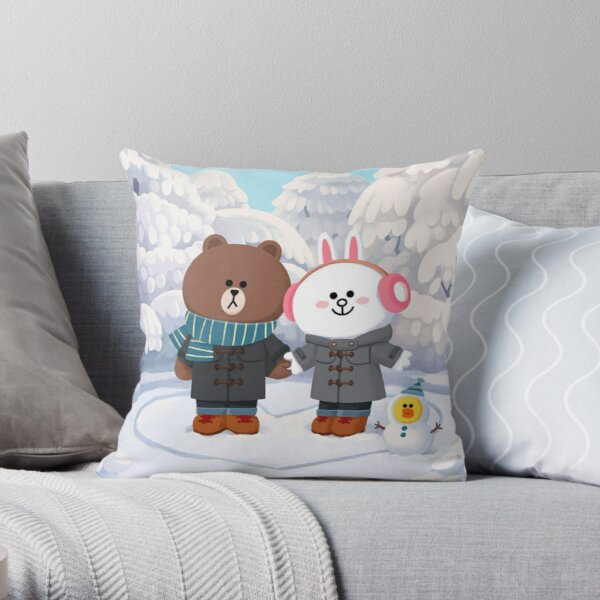 Brown bear and cony bunny rabbit winter love Throw Pillow