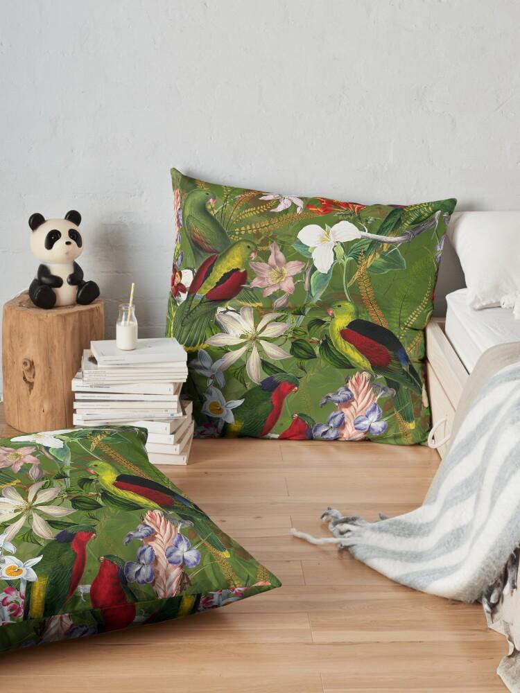 Alternate view of Vintage Parrot Jungle 3 Floor Pillow