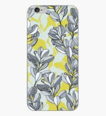Leaf and Berry Sketch Pattern in Mustard and Ash iPhone Case