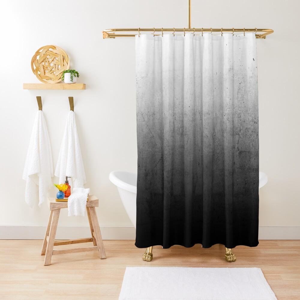 Black Ombre on Concrete Texture Shower Curtain