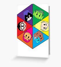 Teen Titans Chibi Hexagon Greeting Card
