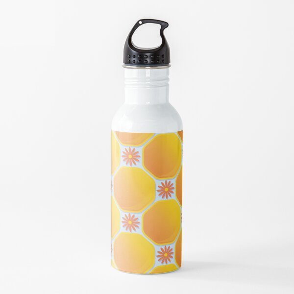 Honeycomb with flowers Water Bottle
