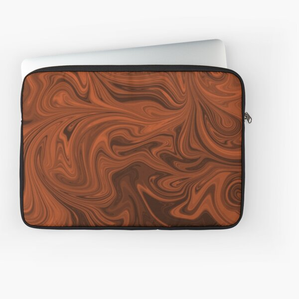 Burnt Orange Swirl Fluid Art Design Laptop Sleeve