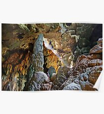Stalagmite towers over caver, Thailand Poster