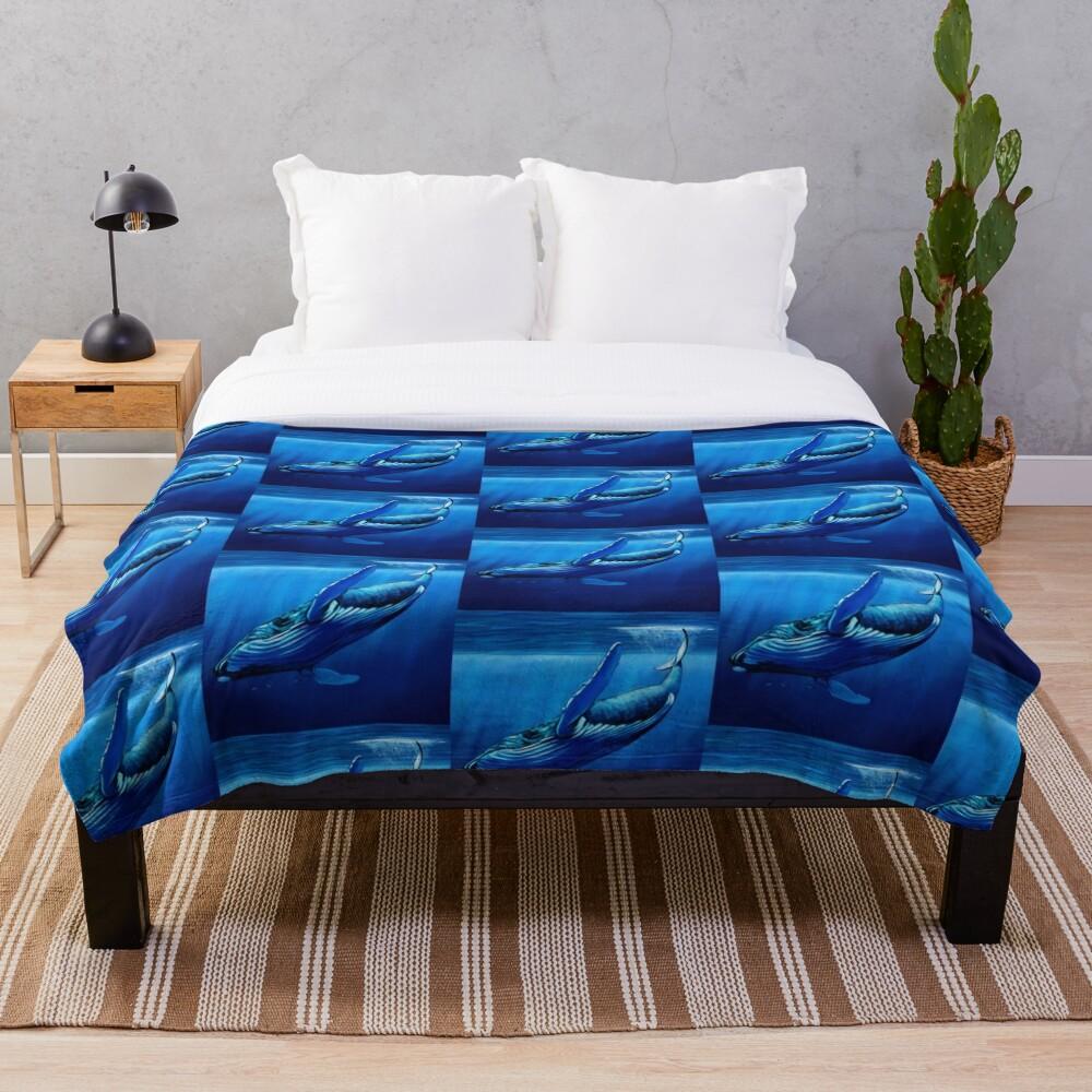 Blue Whale Dive Throw Blanket