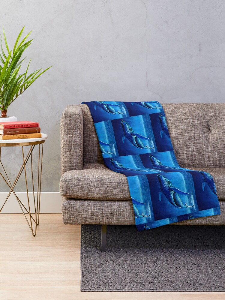 Alternate view of Blue Whale Dive Throw Blanket