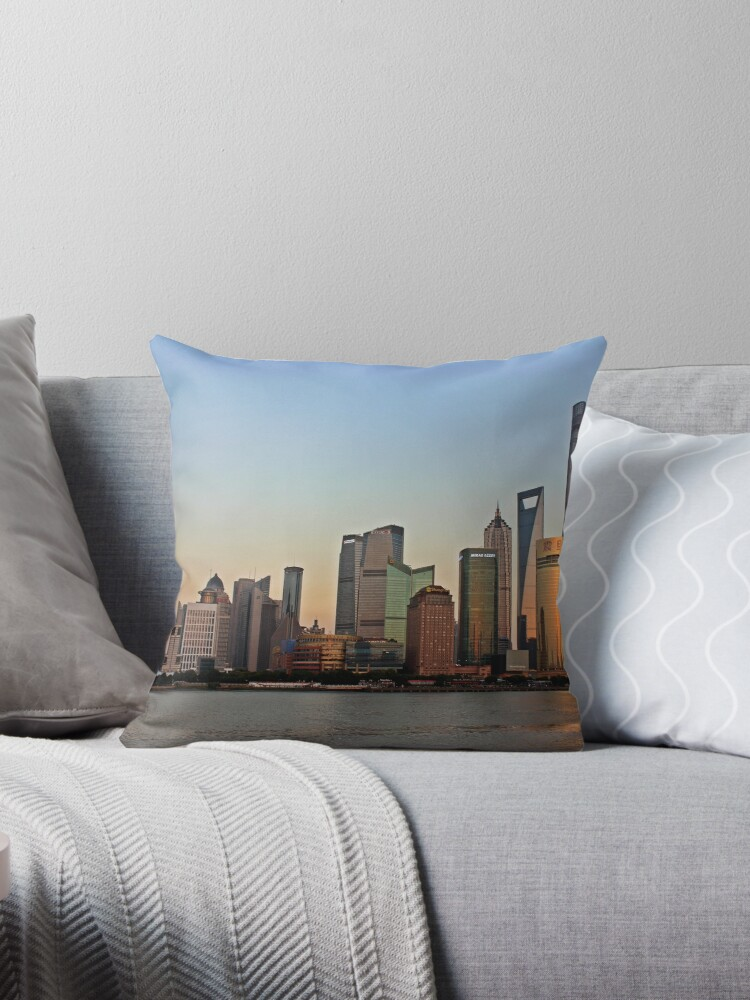 Pudong Skyline Shanghai China Throw Pillow By Laotou Redbubble