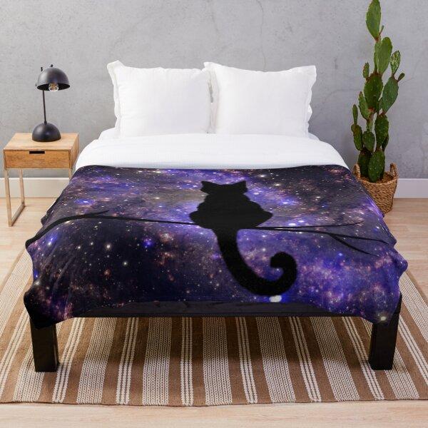 Galaxy Cat Silhouette Throw Blanket