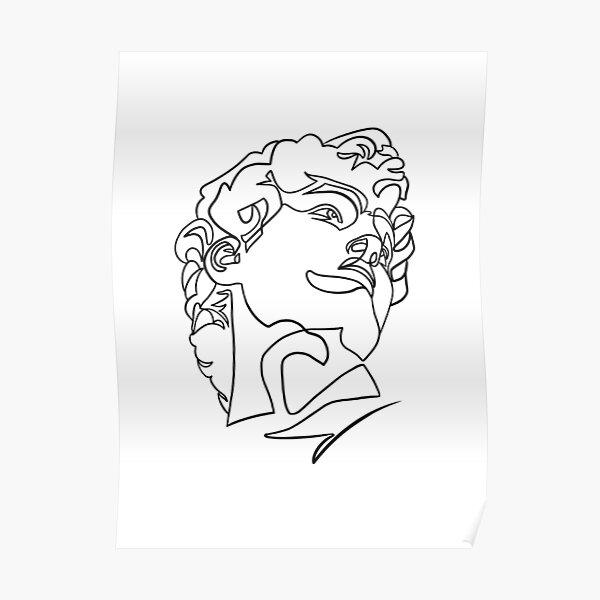 Michelangelo's Statue of David Line Art Poster