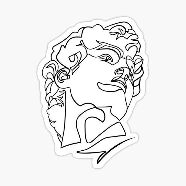 Michelangelo's Statue of David Line Art Sticker