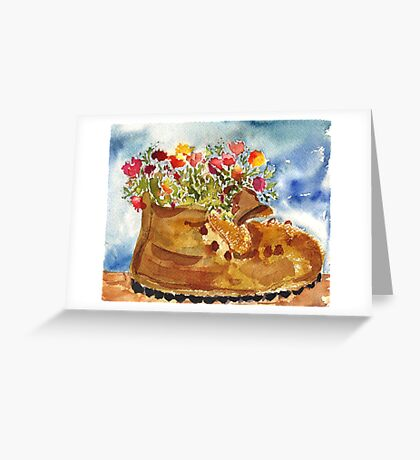Retired Hiking Boot Greeting Card