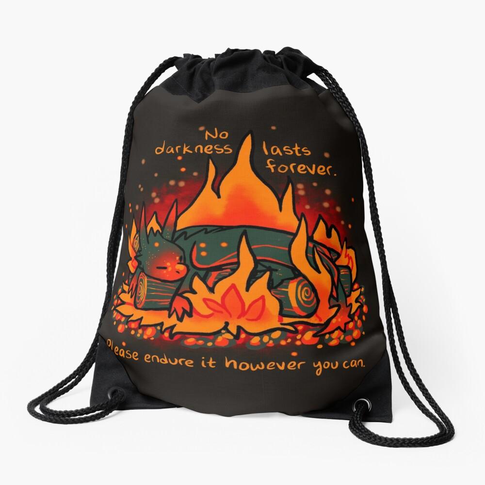 """No Darkness Lasts Forever"" Campfire Dragon Drawstring Bag"