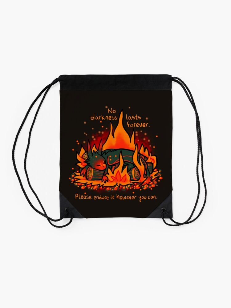 """Alternate view of """"No Darkness Lasts Forever"""" Campfire Dragon Drawstring Bag"""