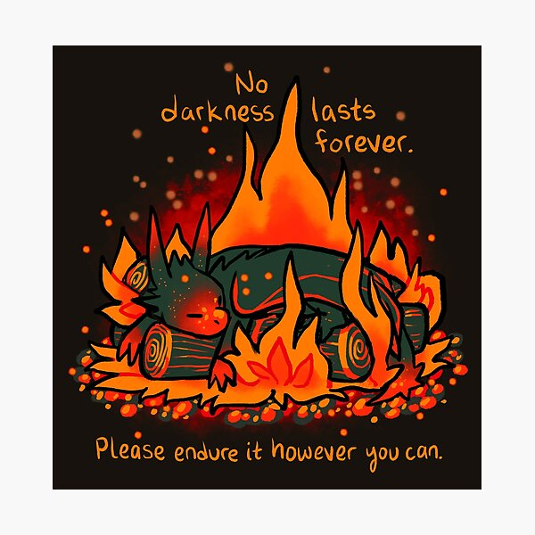 """No Darkness Lasts Forever"" Campfire Dragon Photographic Print"